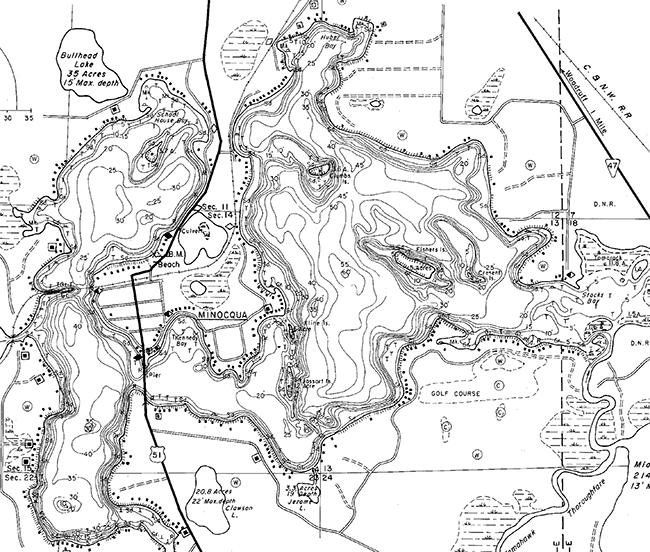 Minocqua Lake contour map