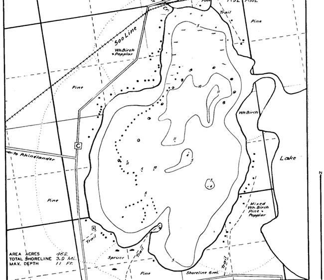 Moen Lake contour map