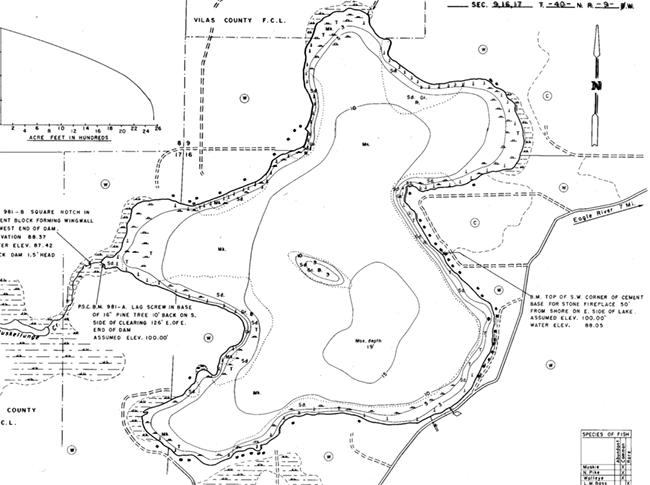 Muskellunge Lake (C) contour map