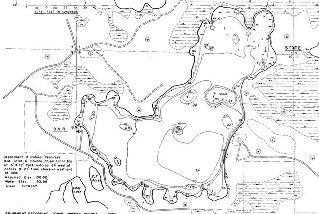 Muskellunge Lake contour map
