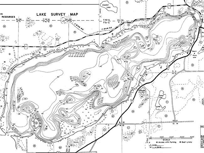 North Twin Lake contour map