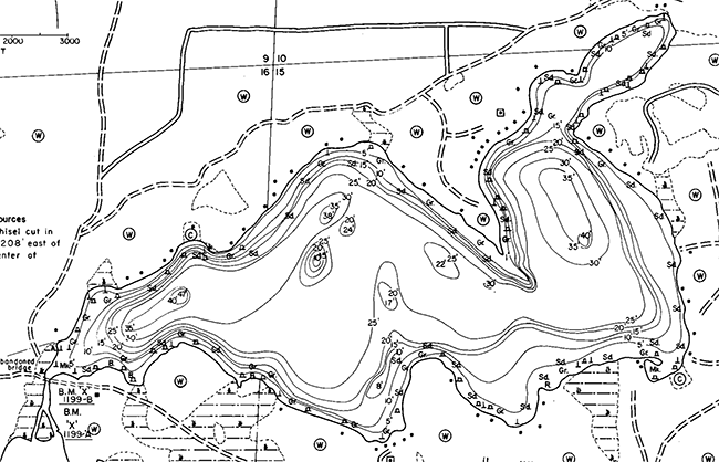 North Two Lake contour map