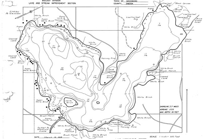 Oneida Lake contour map