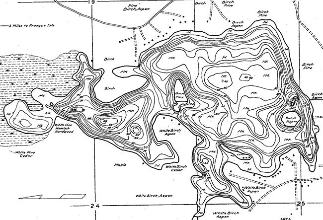 Papoose Lake contour map