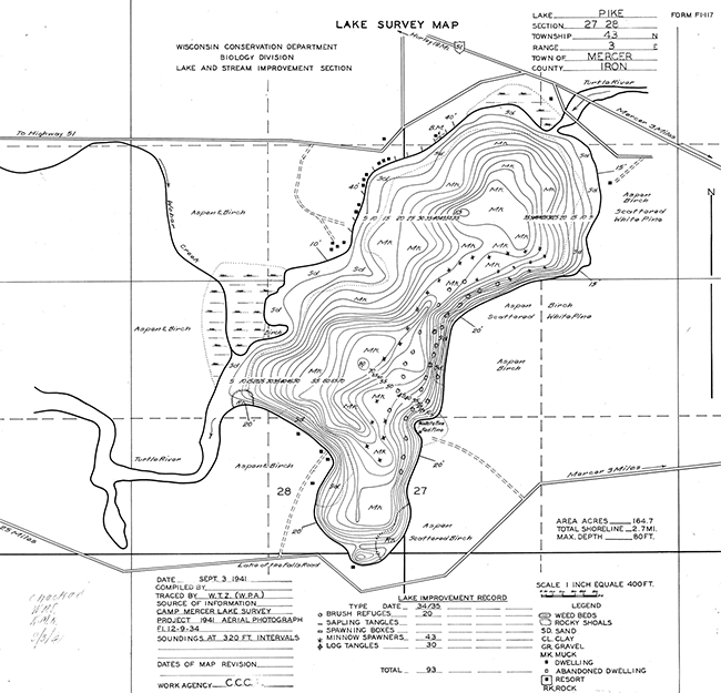Pike Lake contour map
