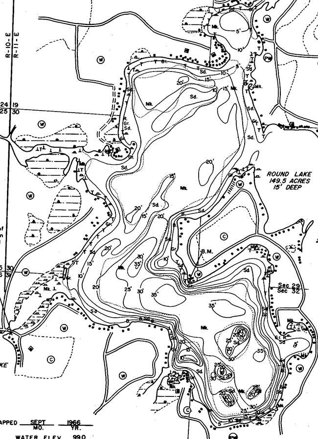 Planting Ground Lake contour map