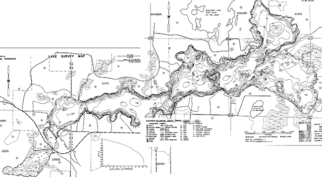 Plum Lake contour map