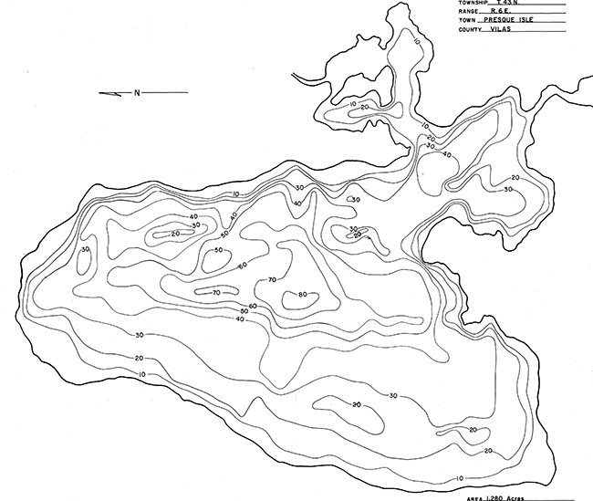 Presque Isle Lake contour map