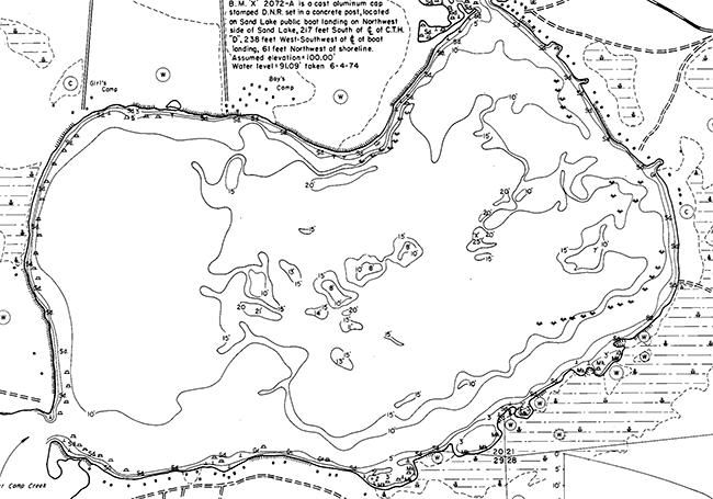 Sand Lake contour map