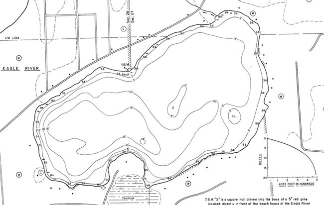 Silver Lake contour map