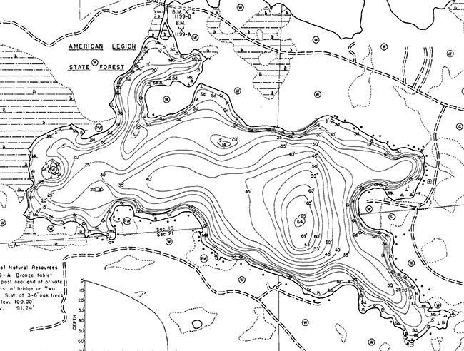 South Two Lake contour map