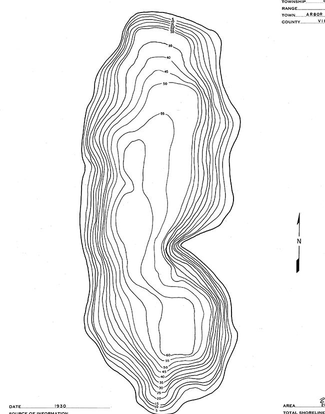 Sparkling Lake contour map