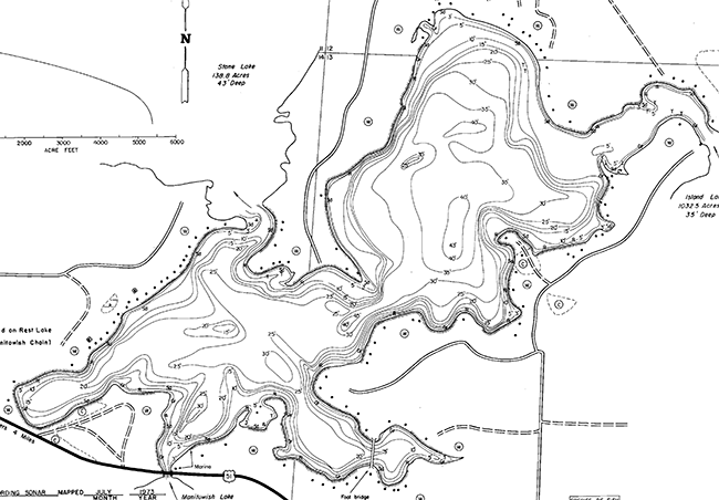 Spider Lake contour map