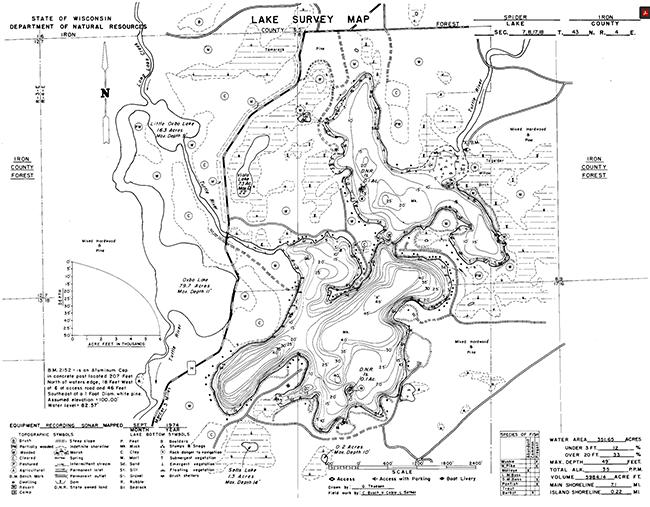 Spider Lake (M) contour map