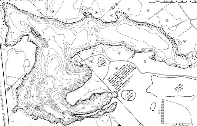 Squash Lake contour map