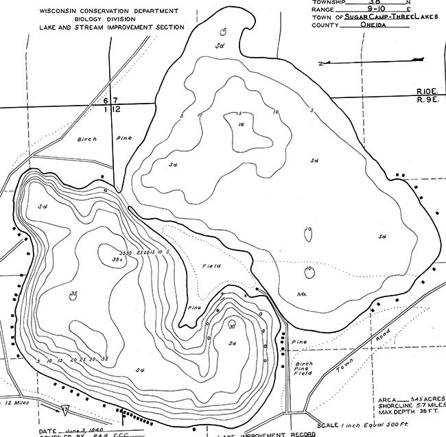 Sugar Camp Lake contour map