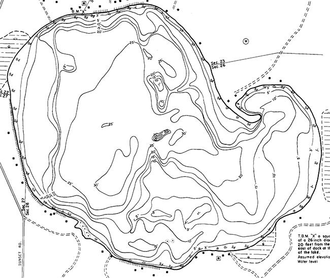 Sunset Lake contour map