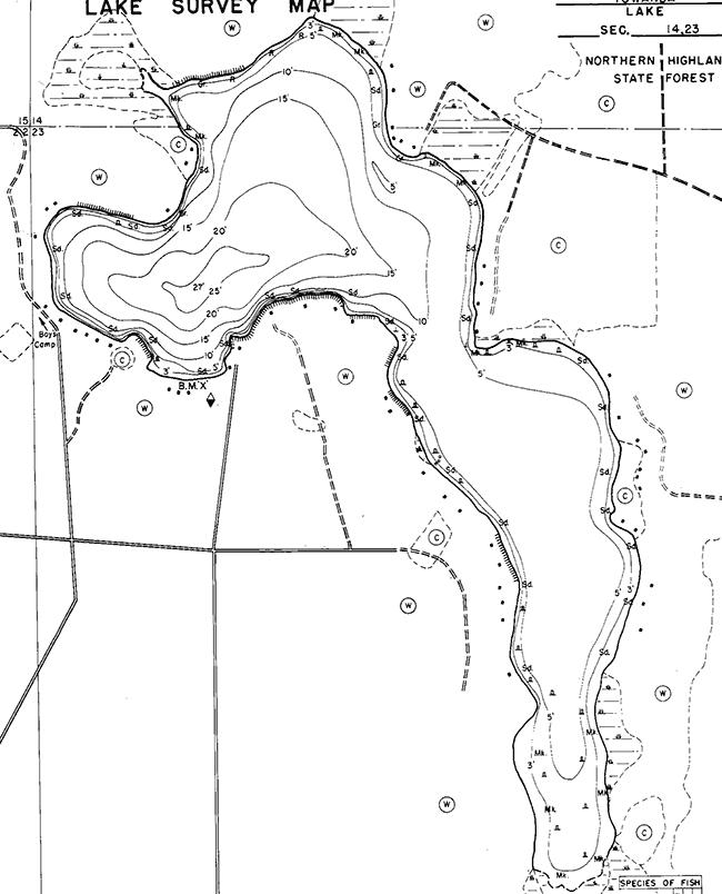 Towanda Lake contour map