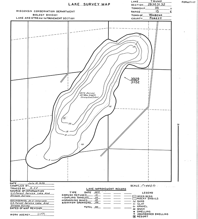 Trump Lake contour map
