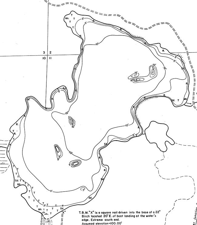 Twin Island Lake contour map