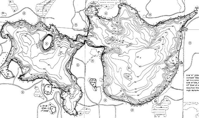 Two Sisters Lake contour map