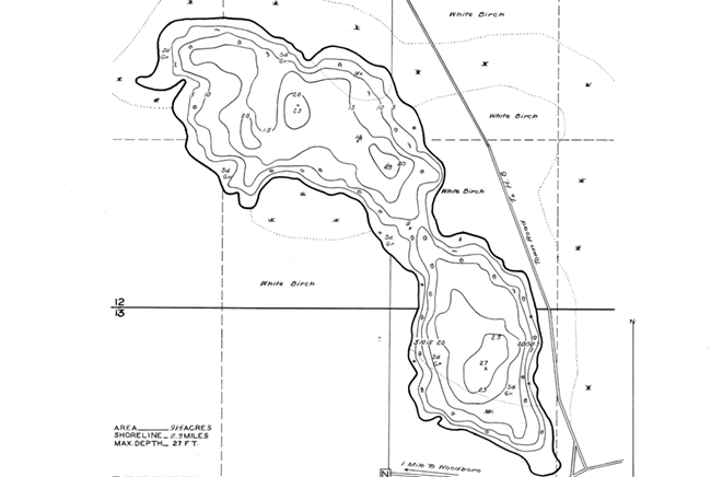 Washburn Lake contour map