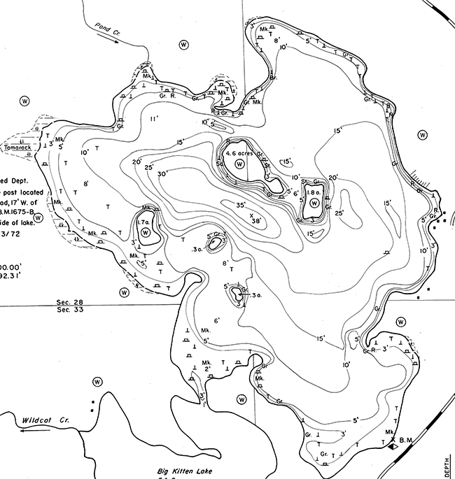 Wildcat Lake contour map