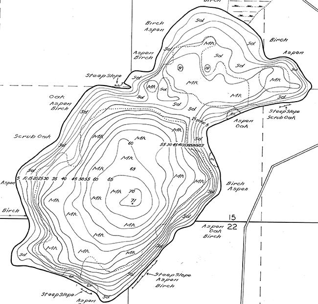 Yawkey Lake contour map